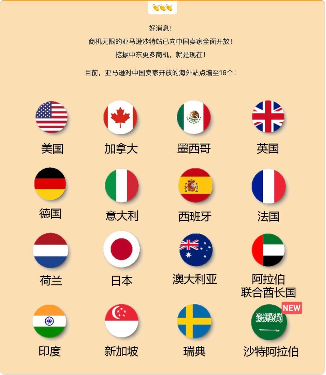 亚马逊宣布沙特站全面向中国卖家开放注册